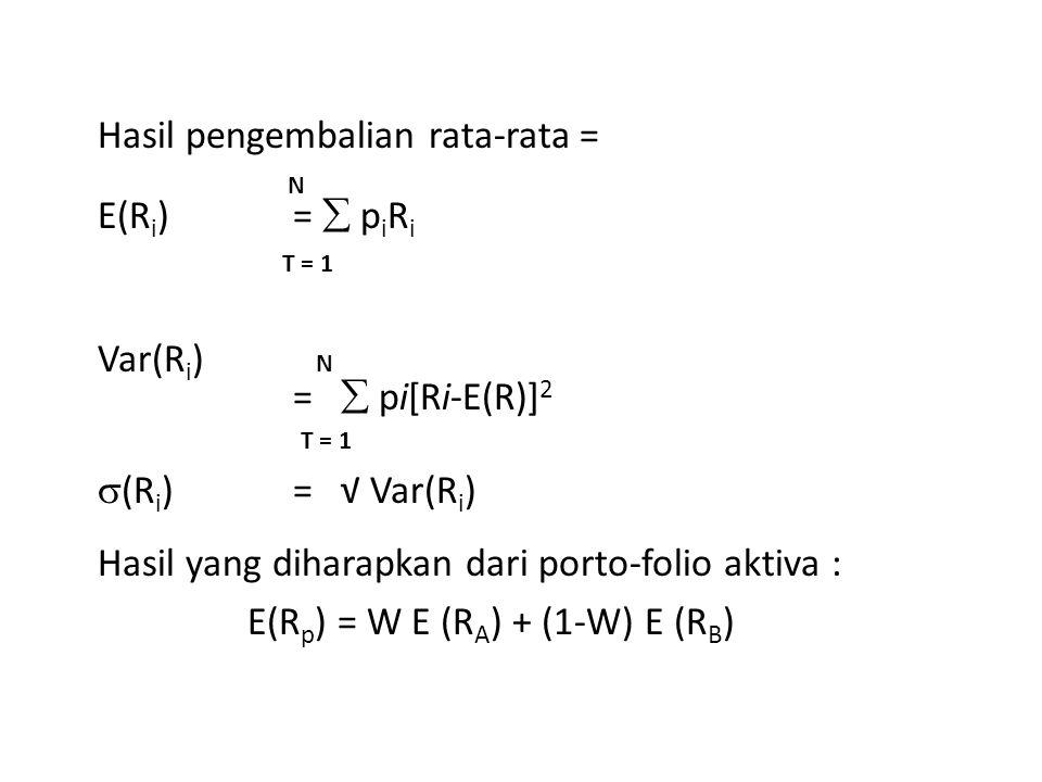 Hasil pengembalian rata-rata = N E(Ri) =  piRi T = 1 Var(Ri) N =  pi[Ri-E(R)]2 (Ri) = √ Var(Ri) Hasil yang diharapkan dari porto-folio aktiva : E(Rp) = W E (RA) + (1-W) E (RB)